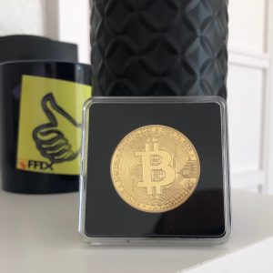 Bitcoin Sammelmünze Gold in Acryl-Etui 40mm