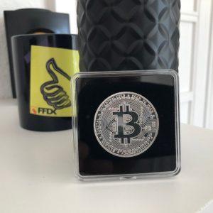 Bitcoin Sammelmünze Silber in Acryl-Etui 40mm