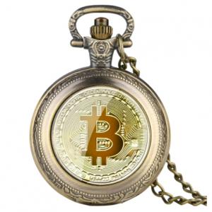 """Bitcoin Quarz Taschenuhr inkl. Halskette """"Bronze"""""""