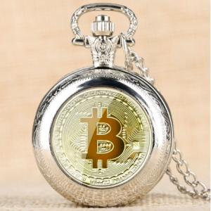 """Bitcoin Quarz Taschenuhr inkl. Halskette """"Silber"""""""