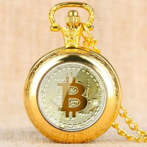"""Bitcoin Quarz Taschenuhr inkl. Halskette """"Gold"""""""
