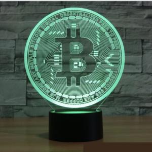 Bitcoin, Multicolor LED Lampe Sockel ∅ 9 cm | BTC Logo ∅ 12,5 cm