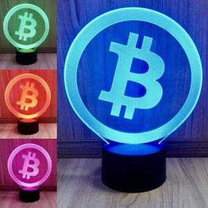 Bitcoin, Multicolor LED Lampe