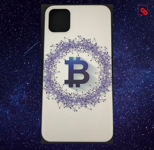 Iphone Case Bitcoin White Blue