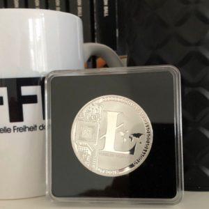 Litecoin LTC Sammelmünze Silber in Acryl-Etui 40mm