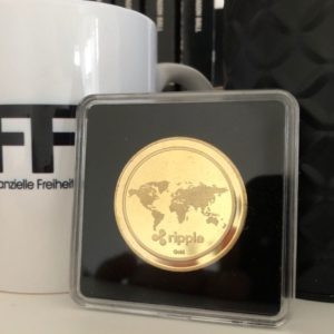 Ripple XRP Sammelmünze Gold in Acryl-Etui 40mm