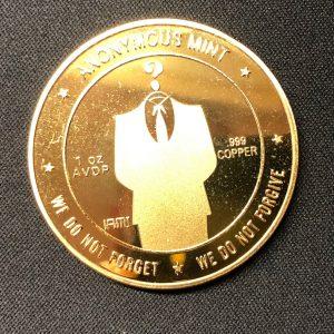 """Sammelmünze """"Anonymus & Bitcoin"""" gold"""