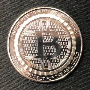 """Sammelmünze """"Anonymus & Bitcoin"""" silber"""