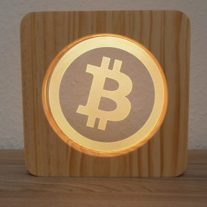 Bitcoin, LED Lampe aus Holz