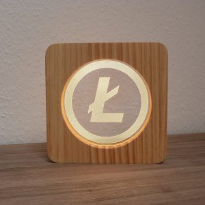 Litecoin, LED Lampe aus Holz