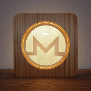 Monero, LED Lampe aus Holz