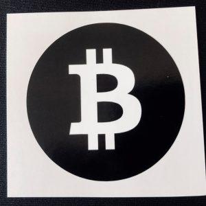 """Aufkleber """"Bitcoin Emblem schwarz"""" 7cm Ø rund"""