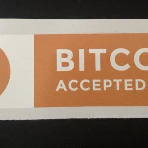"Aufkleber ""Bitcoin Accepter Here"" 12cm x 3cm"