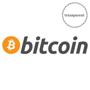 """Aufkleber """"Bitcoin Schriftzug  transparent"""" 12cm x 3cm"""